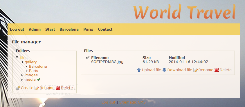 Sitemagic CMS - A file manager also ships with Sitemagic