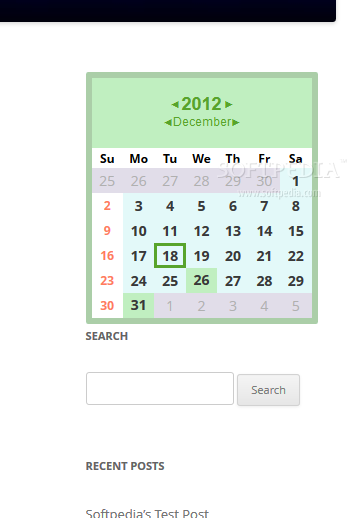 Spider Calendar (WordPress) - The events calendar embedded in the sidebar of a site