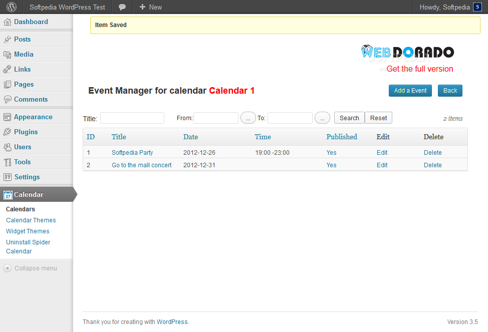 Spider Calendar (WordPress) - Reviewing events added to a specific calendar