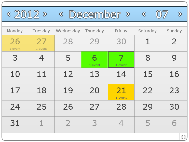 Spider Flash Calendar (Joomla) screenshot 1