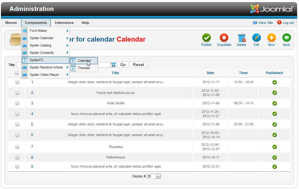 Spider Flash Calendar (Joomla) screenshot 5