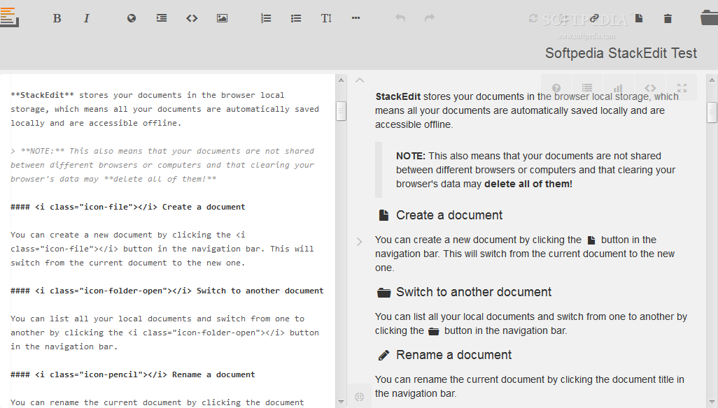 StackEdit - StackEdit allows users to edit HTML documents via their Web browser