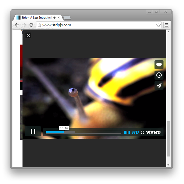 Strip - Strip can also show Vimeo videos inside its modal container