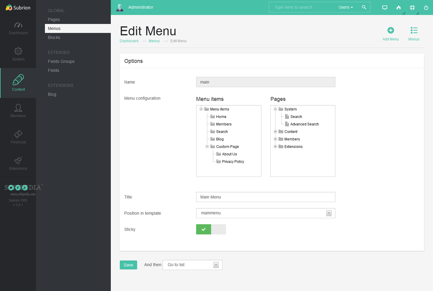 Subrion CMS - Subrion also includes a menu management toolkit