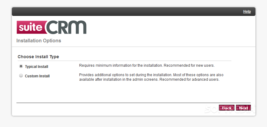 SuiteCRM - When installing, webmasters can choose the installation package they want