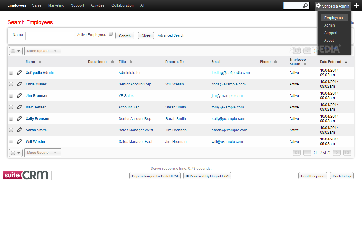 SuiteCRM - SuiteCRM is also a multi-user system that lets admins manage their employees