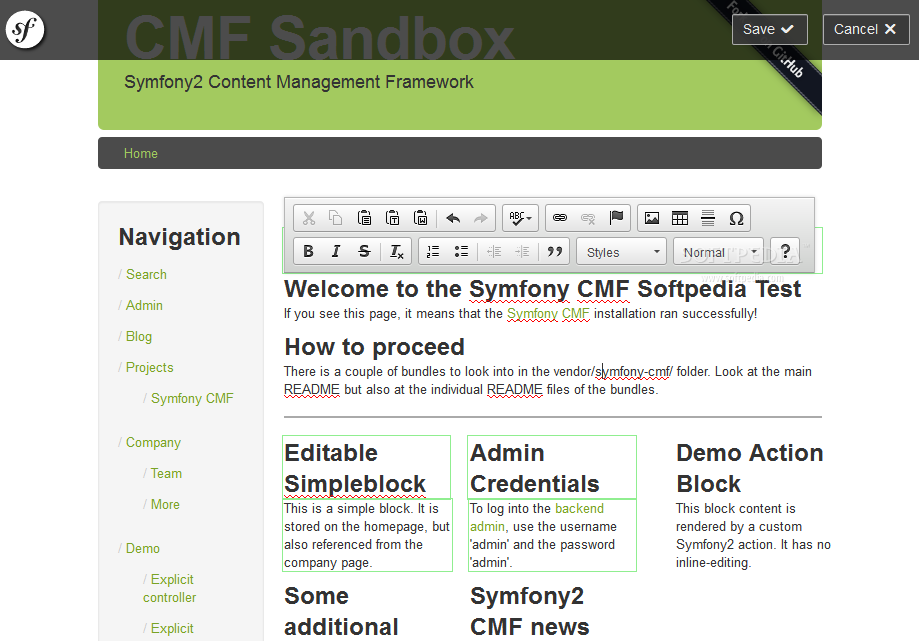 Symfony CMF - Symfony CMF is a simple to use content editing feature for the Symfony framework