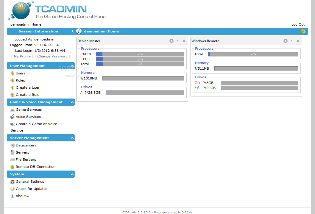 TCAdmin screenshot 1