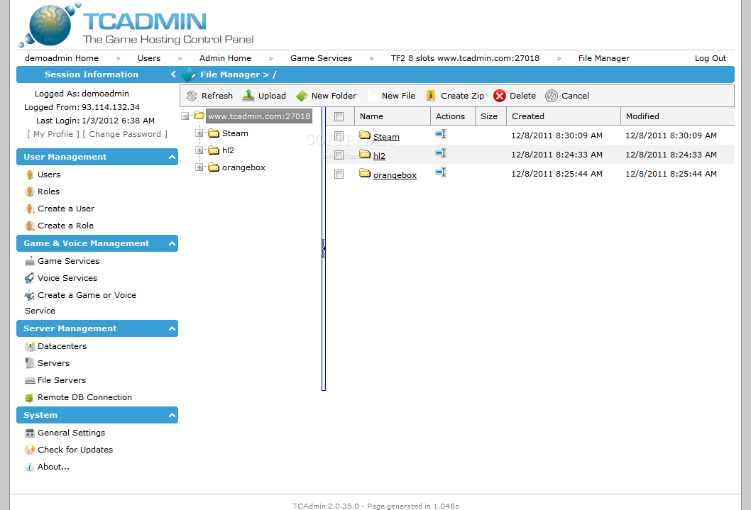 TCAdmin screenshot 10
