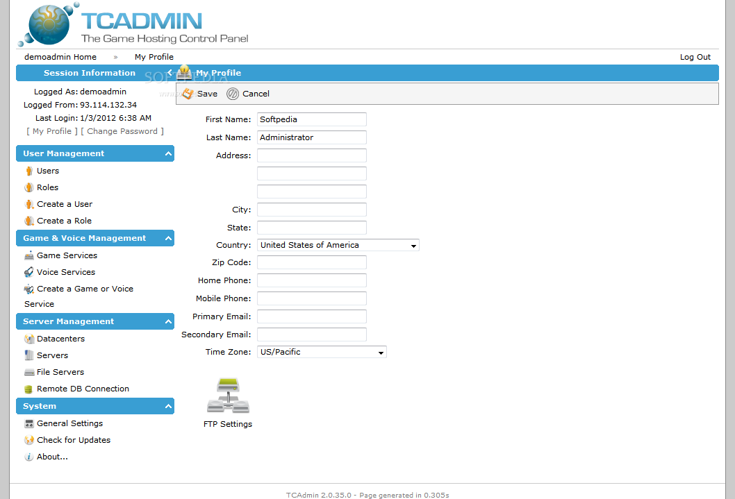 TCAdmin screenshot 2