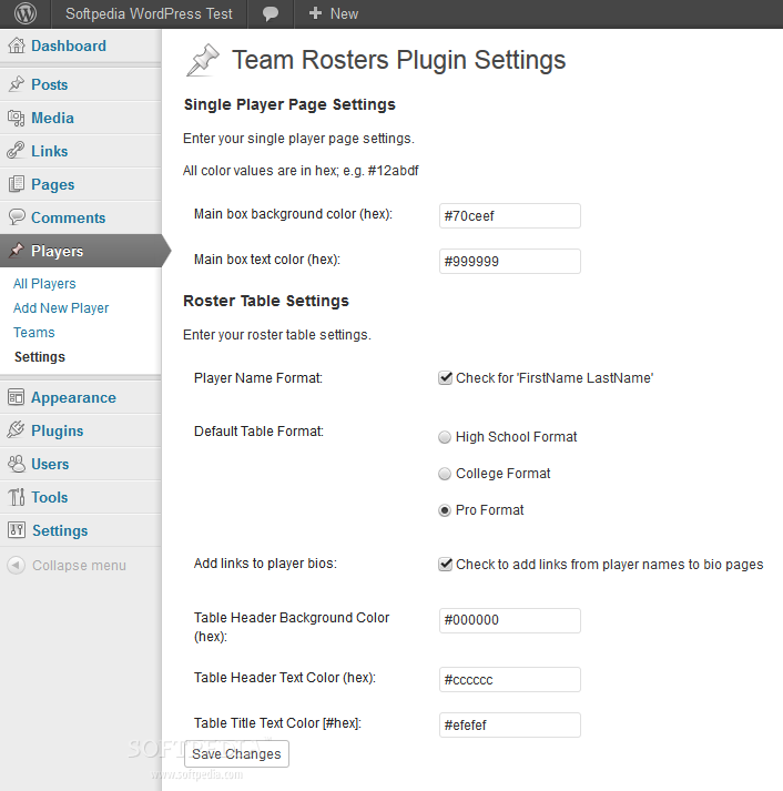 Team Rosters - Before anything, the general plugin options must be setup in the backend