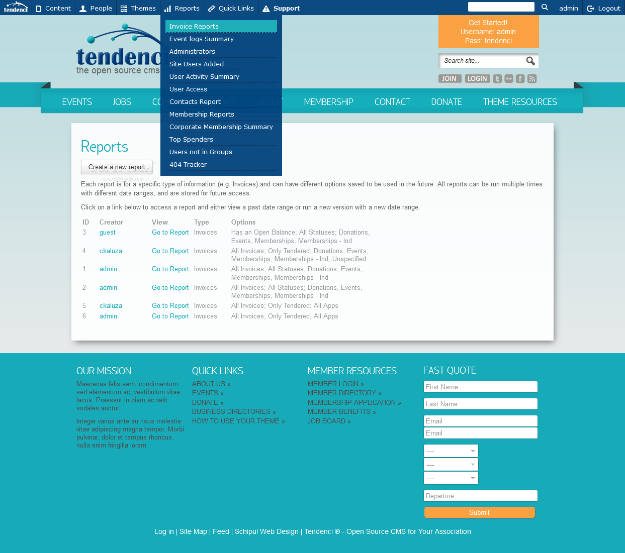 Tendenci - Various administration tools are packed with Tendenci