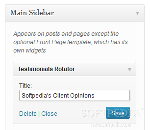Testimonial Rotator - A sidebar widget is also available to use