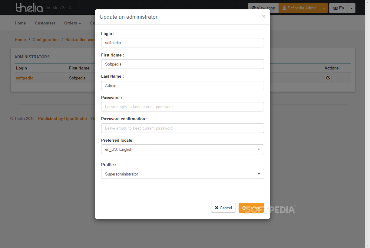 Thelia - Admin profiles can also be edited when needed