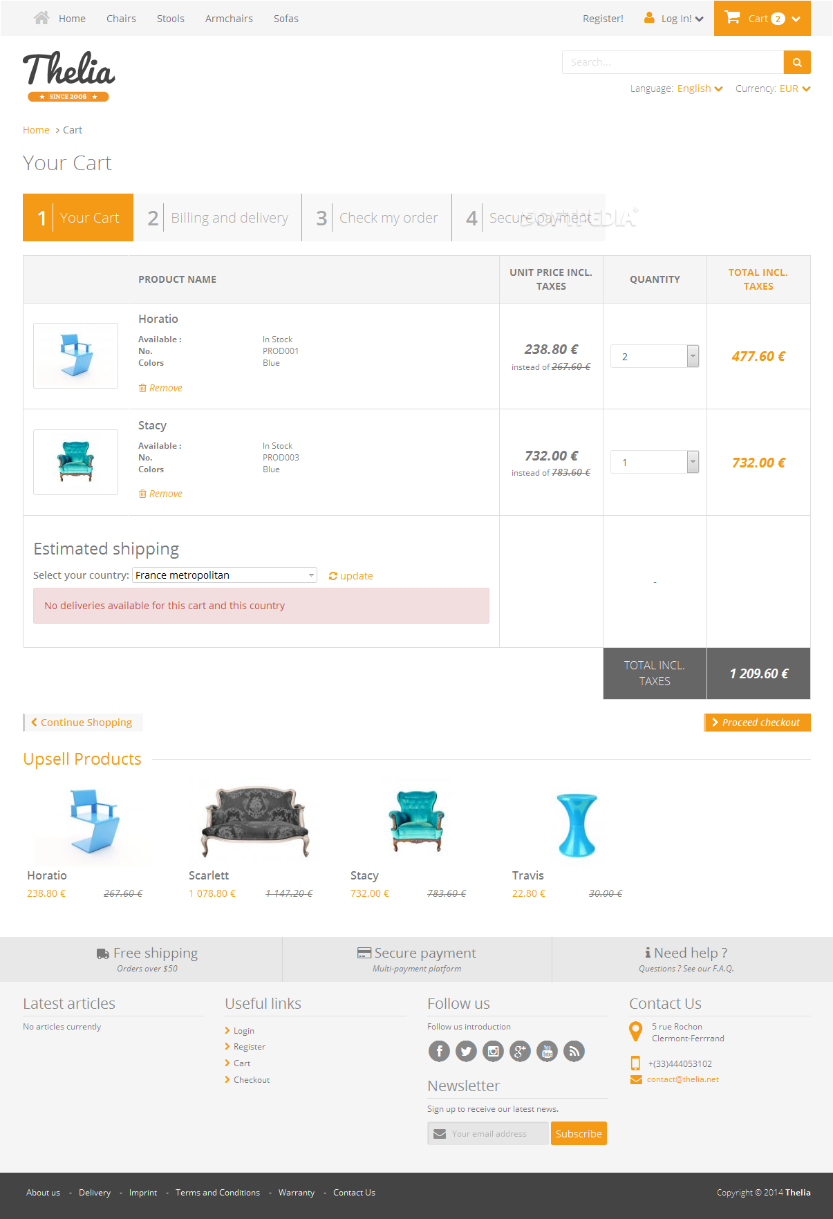 Thelia - A shopping cart widget is included to help users manage their shopping lists and checkout process