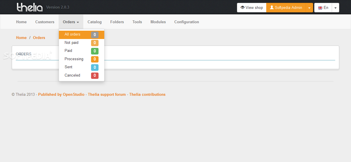 Thelia - Orders are logged and recorded in the Thelia backend as well