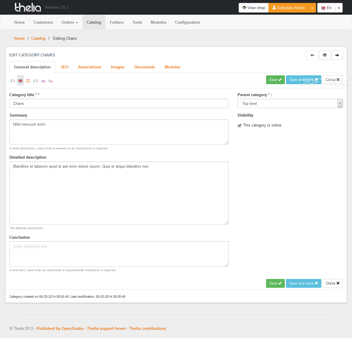 Thelia - Details for each category can be edited by any store administrator