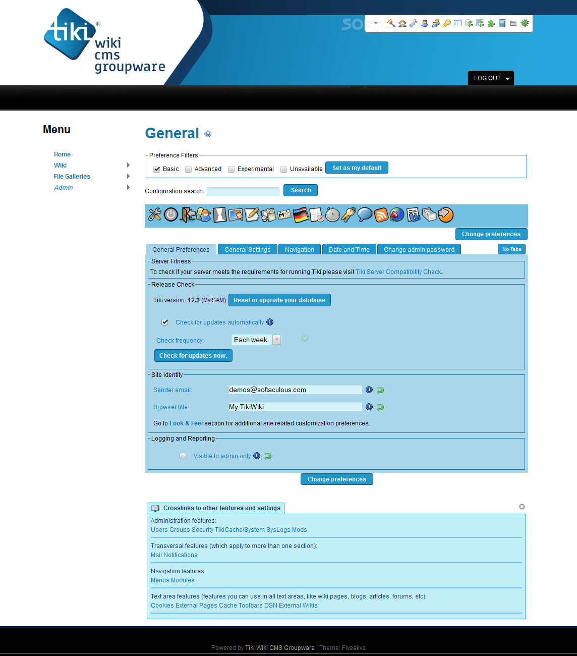 Tiki Wiki CMS Groupware - It comes with an all-encompassing administration panel