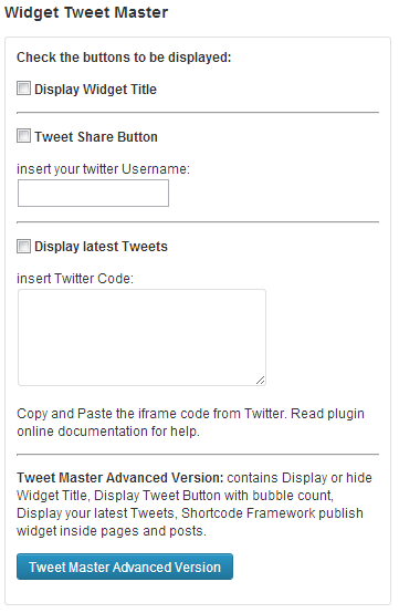 Tweet Master - Sidebar widget options as seen in the advanced version