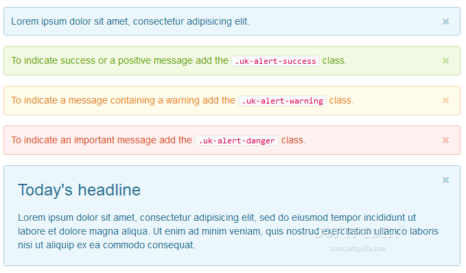 UIkit - Alerts and notifications bars can be displayed via the UIkit framework