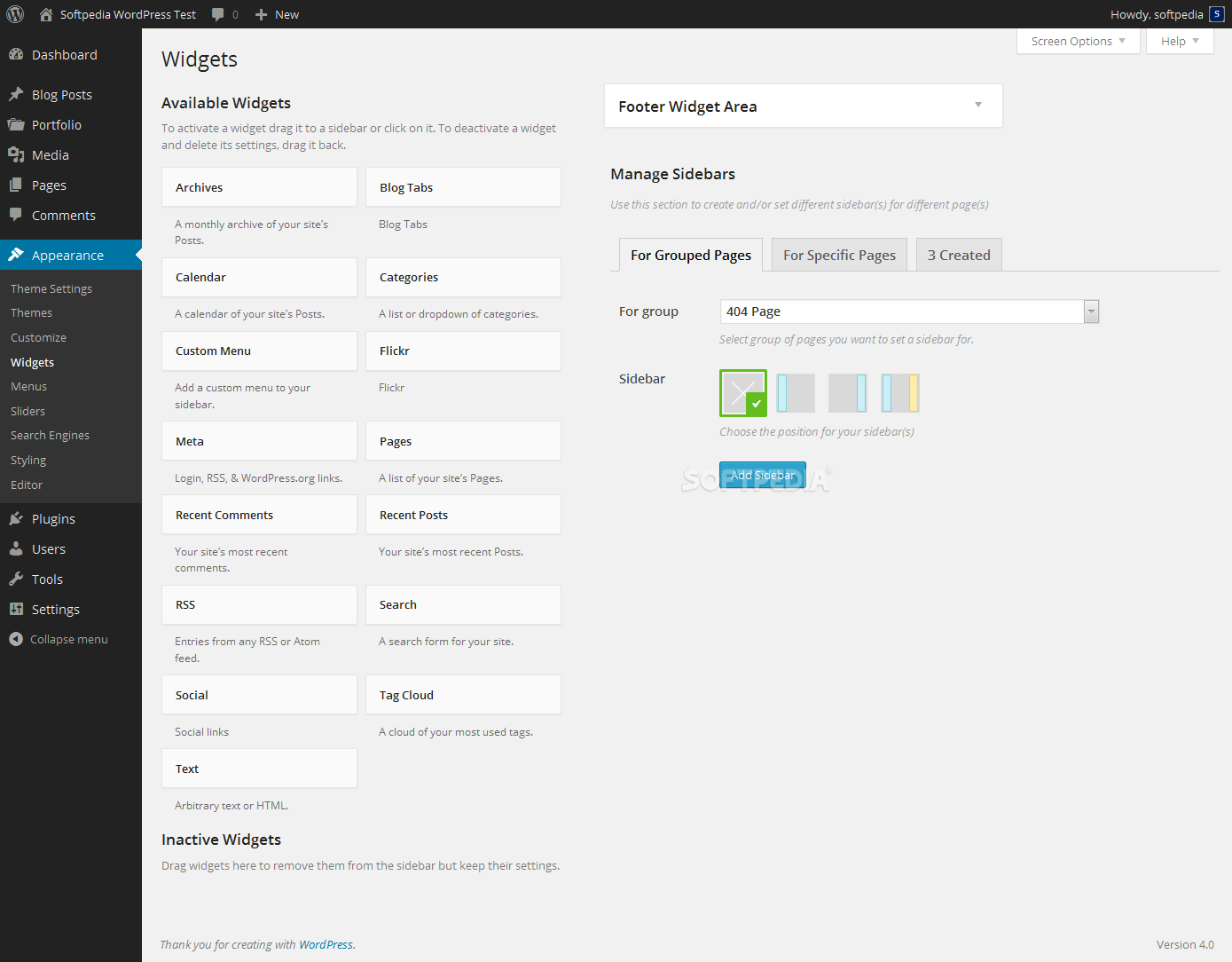 Unyson Framework - A special sidebar management utility is also included with every theme