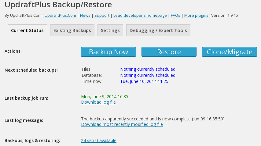 UpdraftPlus - Configuring backup and restore options in the plugin's admin panel