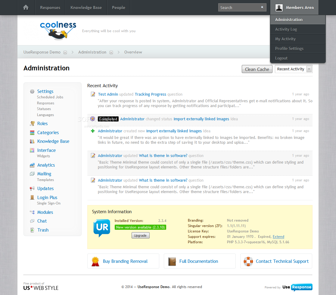 UseResponse - An admin panel is also provided for managing UseResponse's content