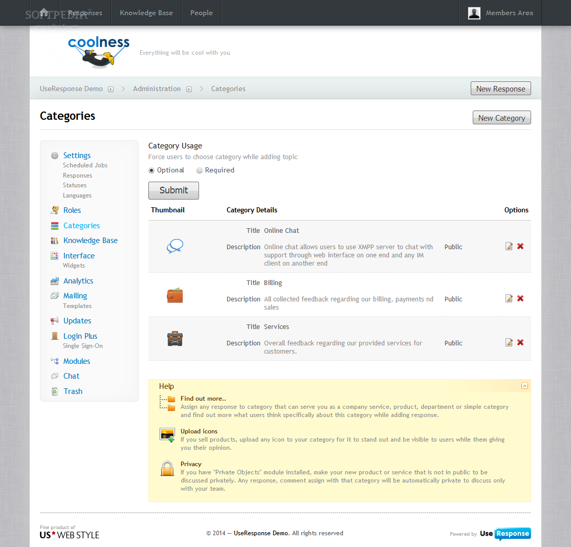 UseResponse - UseResponse content can be organized based on categories
