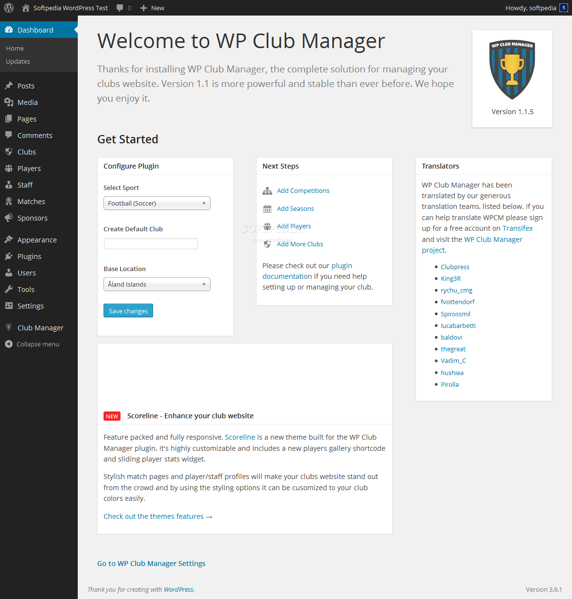 WP Club Manager - Once installed, the WP Club Manager plugin will redirect the user to a quick options panel