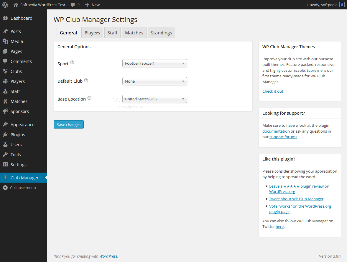 WP Club Manager - A comprehensive setting page will let the admin configure general options, player, staff, matches, and standings details