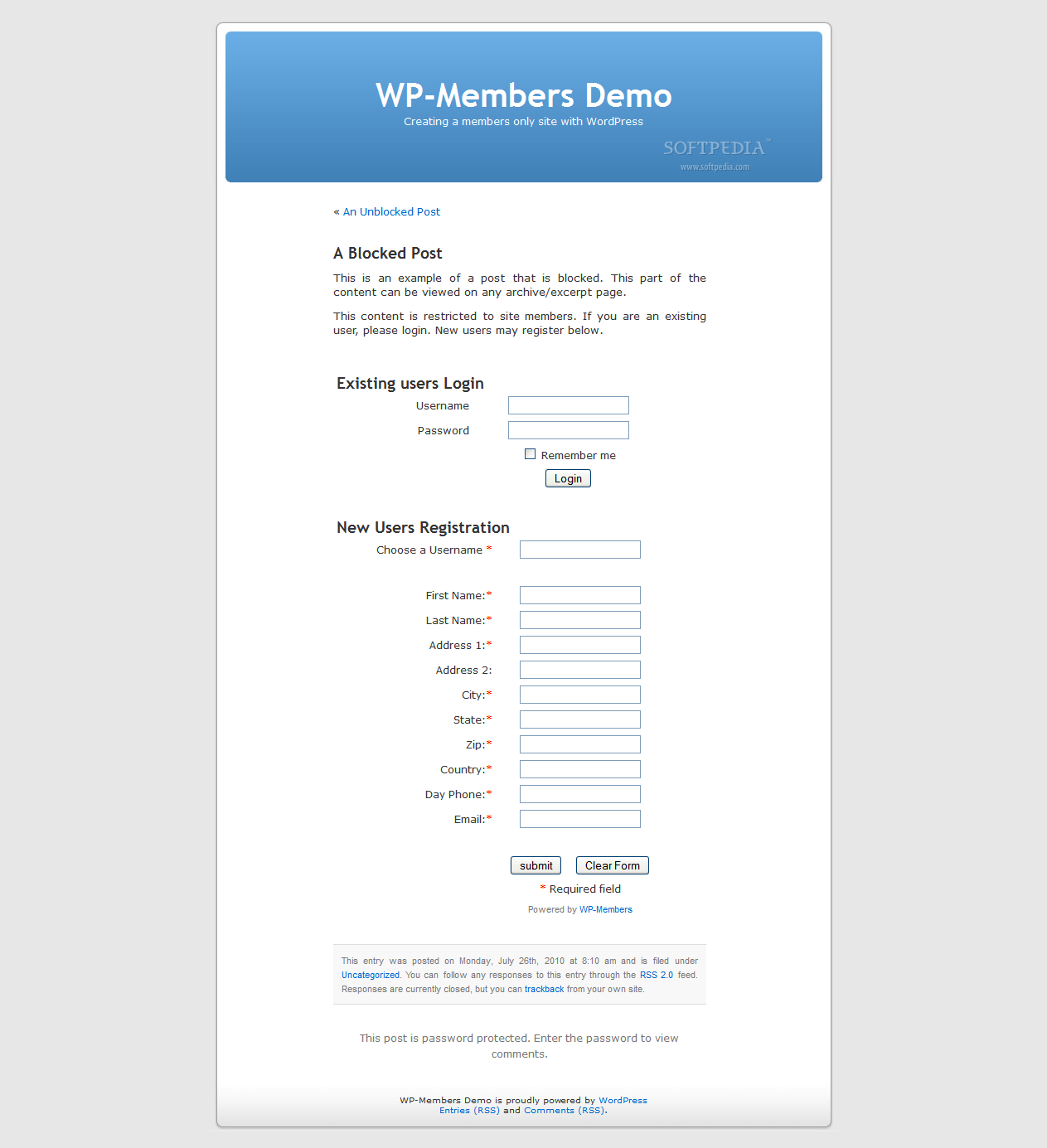 WP-Members screenshot 5