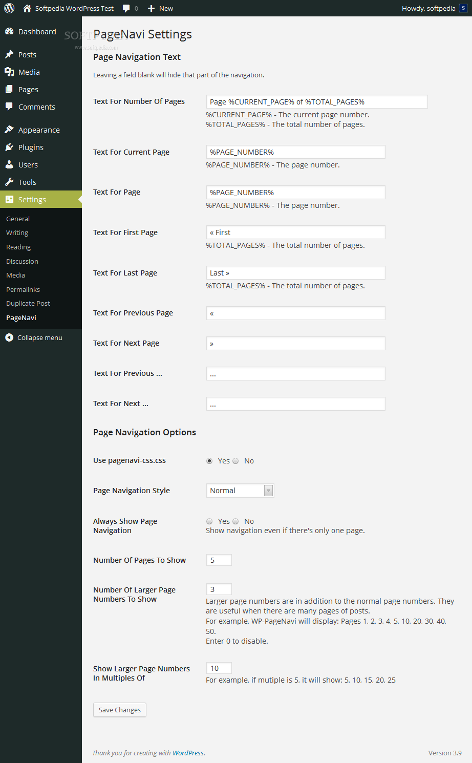 WP-PageNavi - A settings page is provided where administrators can customize the options of the WP-PageNavi pagination system