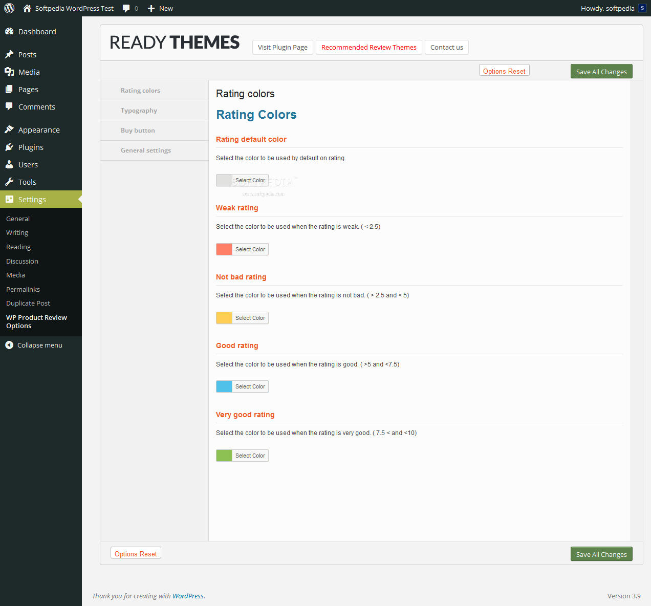 WP Product Review - WP Product Review provides an options panel where admins can customize colors, typography, buttons, and other plugin settings
