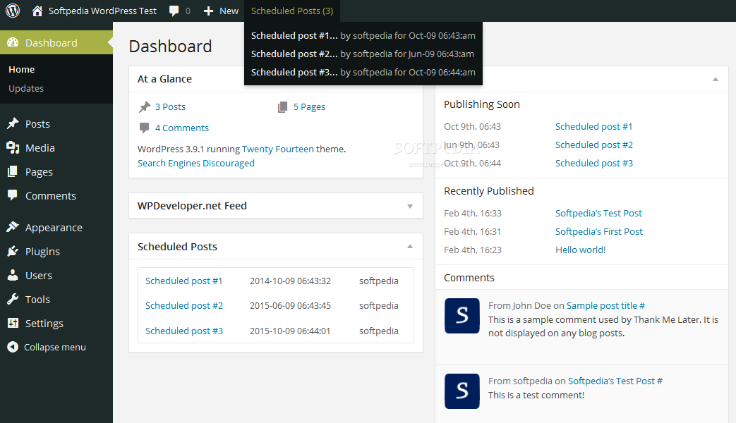 WP Scheduled Posts - WP Scheduled Posts shows upcoming scheduled posts in the WP dashboard and the admin bar itself