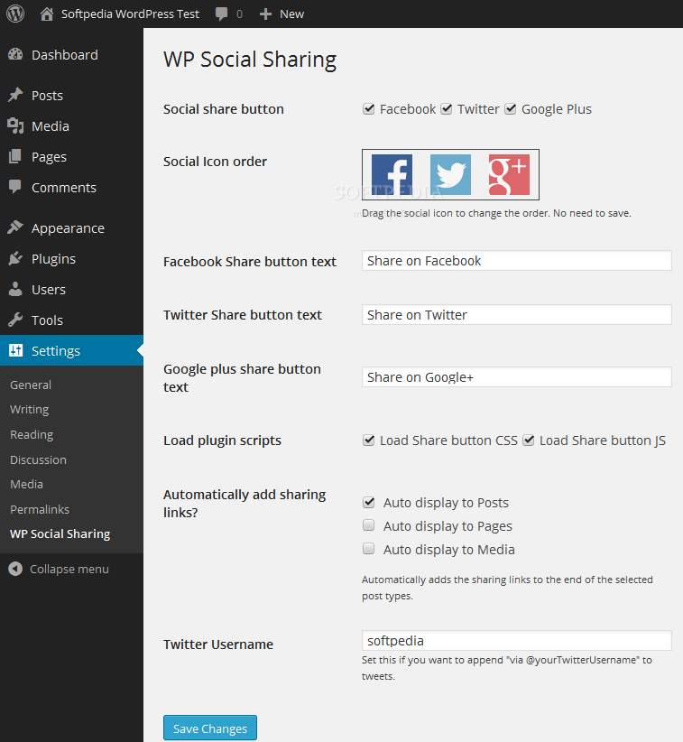 WP Social Sharing - Webmasters have the ability to change various WP Social Sharing plugin options