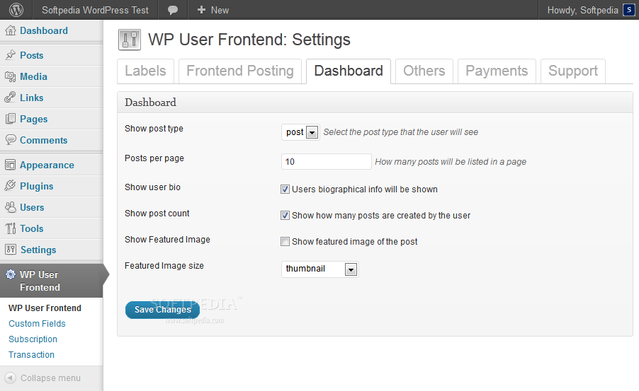 WP User Frontend - Managing the plugin's details in the WP backend