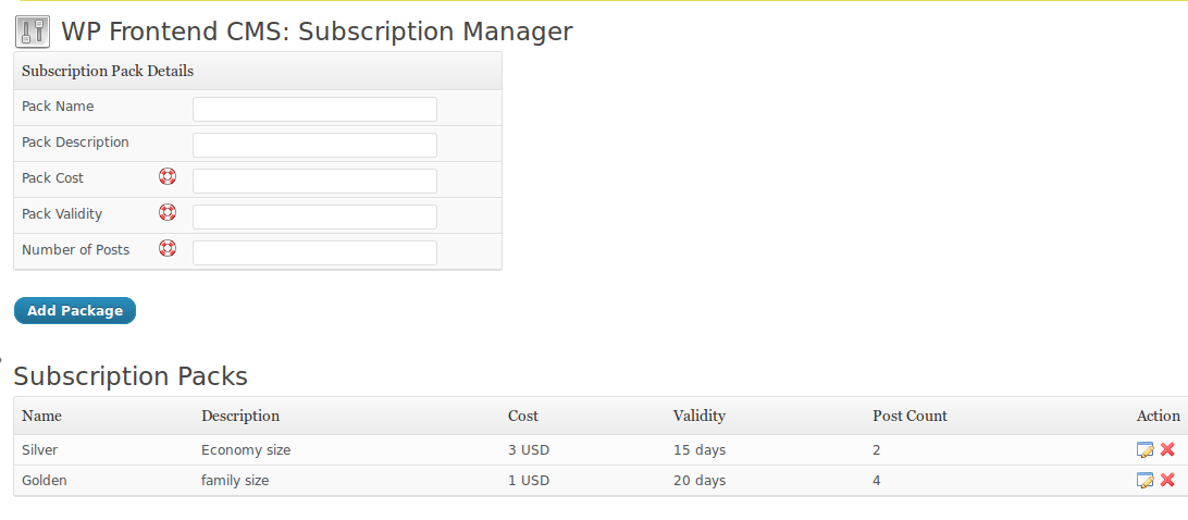 WP User Frontend - Managing subscription packs