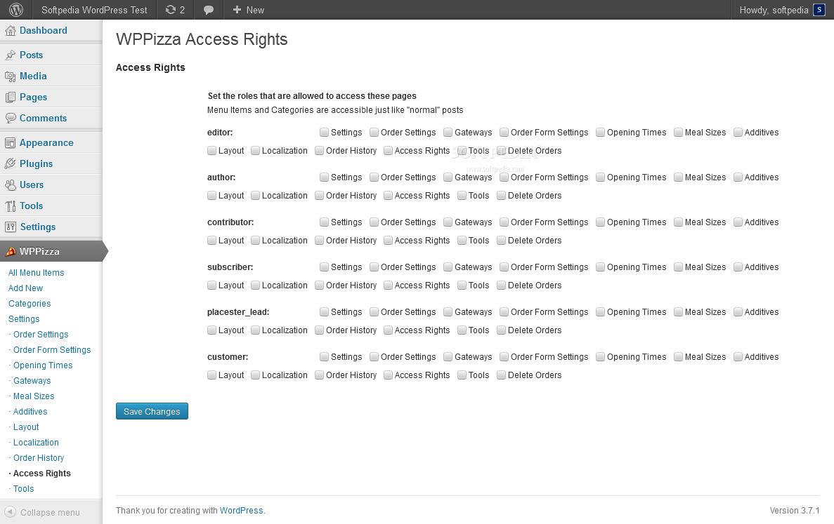 WPPizza - Various access rights can be customized in the WP backend