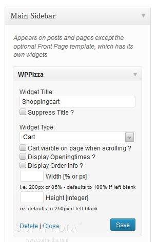 WPPizza - A sidebar widget is also packed with WPPizza