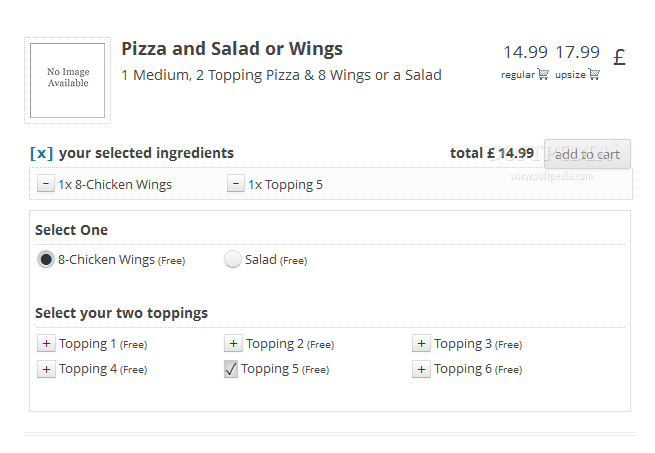 WPPizza - Users can select various ingredients and toppings for their pizzas/food