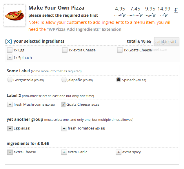 WPPizza - Using the additional WPPizza Ingredients plugin the pizza/food builder can be customize in a wide range of ways