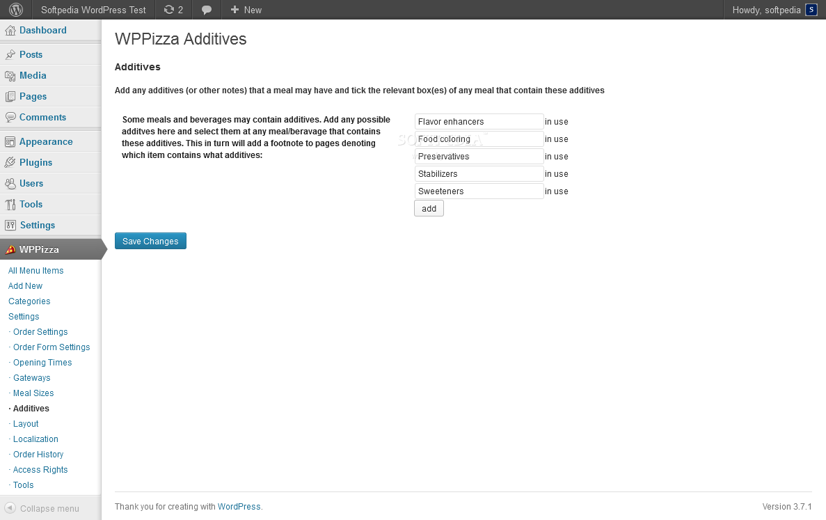 WPPizza - WPPizza allows admins to manage food additives