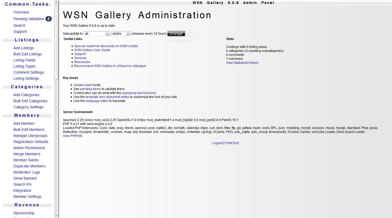 WSN Gallery - An admin panel is also included with WSN Gallery