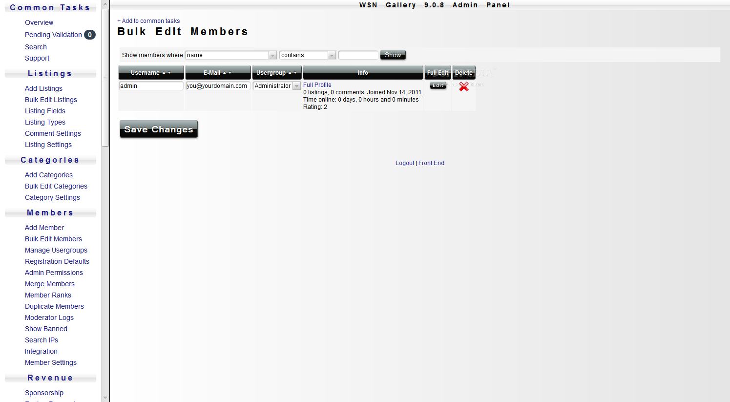 WSN Gallery - Members can also register and edited at later points inside the WSN Gallery backend