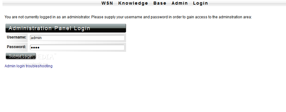 WSN Knowledge Base - The WSN Knowledge Base backend panel is password protected