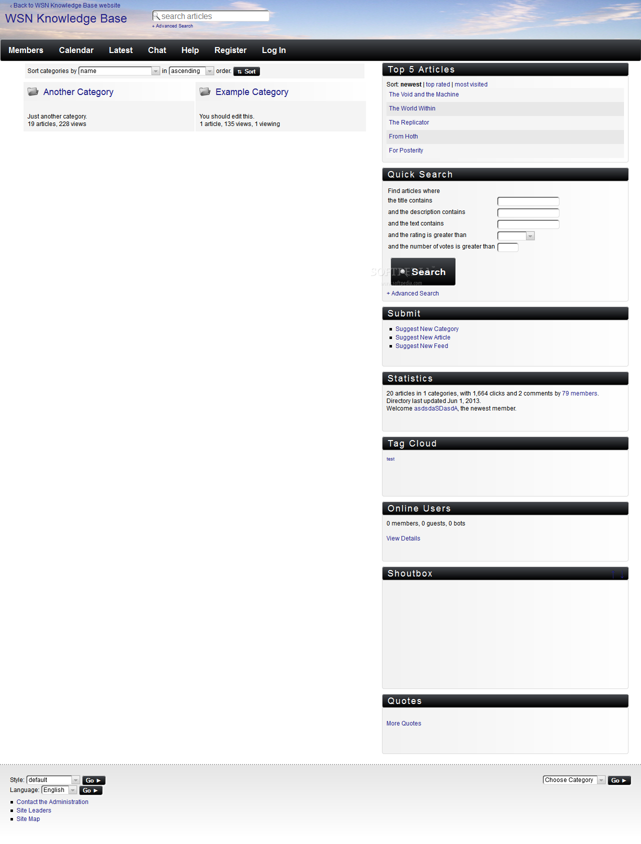 WSN Knowledge Base - A basic theme is included for the site's frontend, for easy FAQ display and navigation