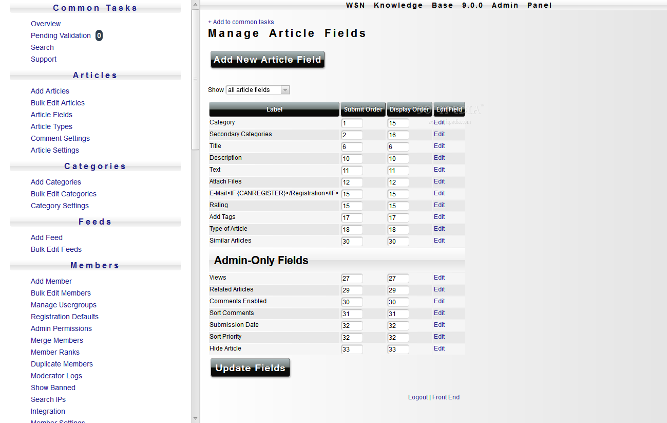 WSN Knowledge Base - Various article details can be edited in the WSN Knowledge Base backend