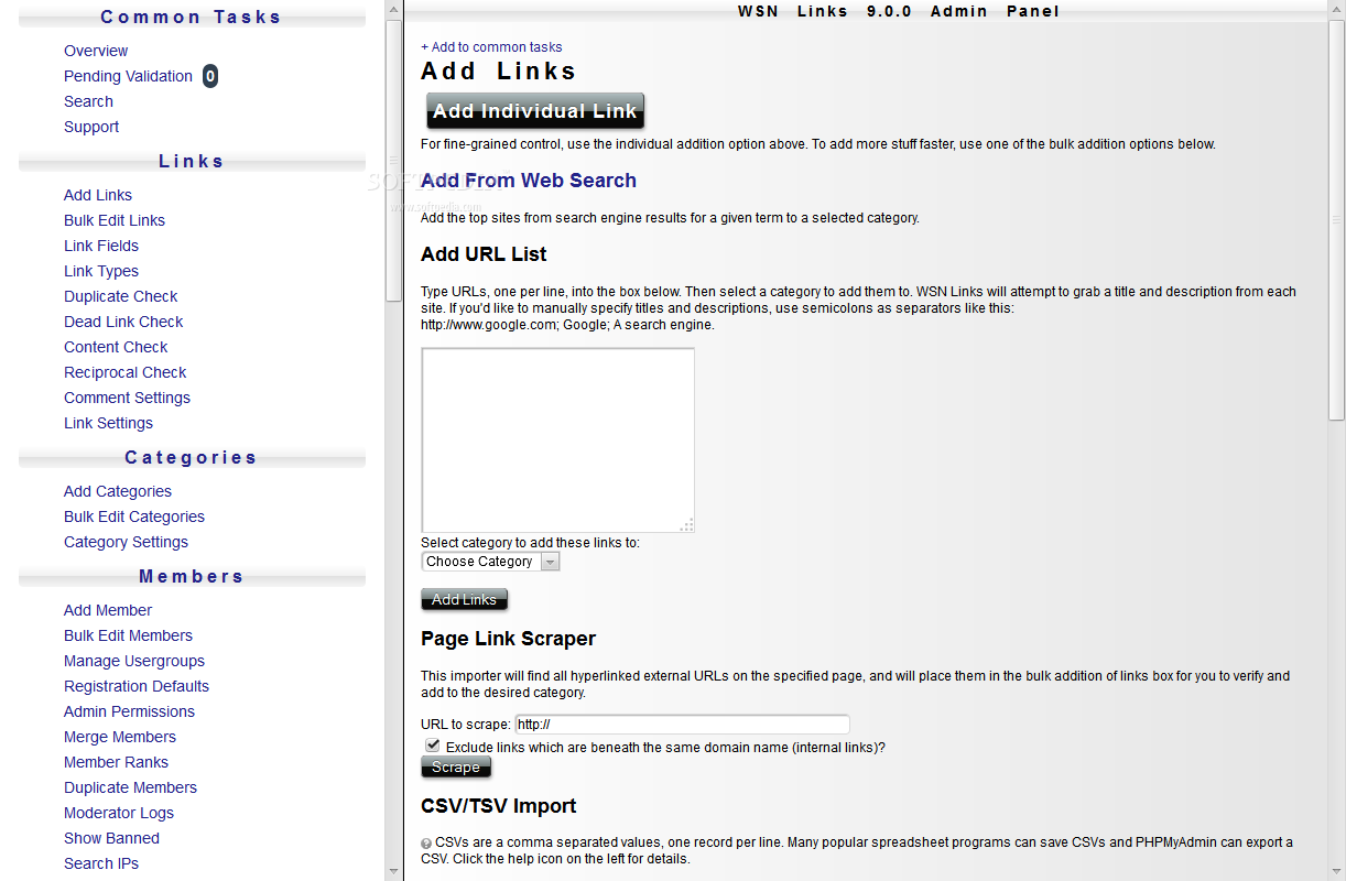 WSN Links - In the backend, administrators can easily manage existing links or add new ones