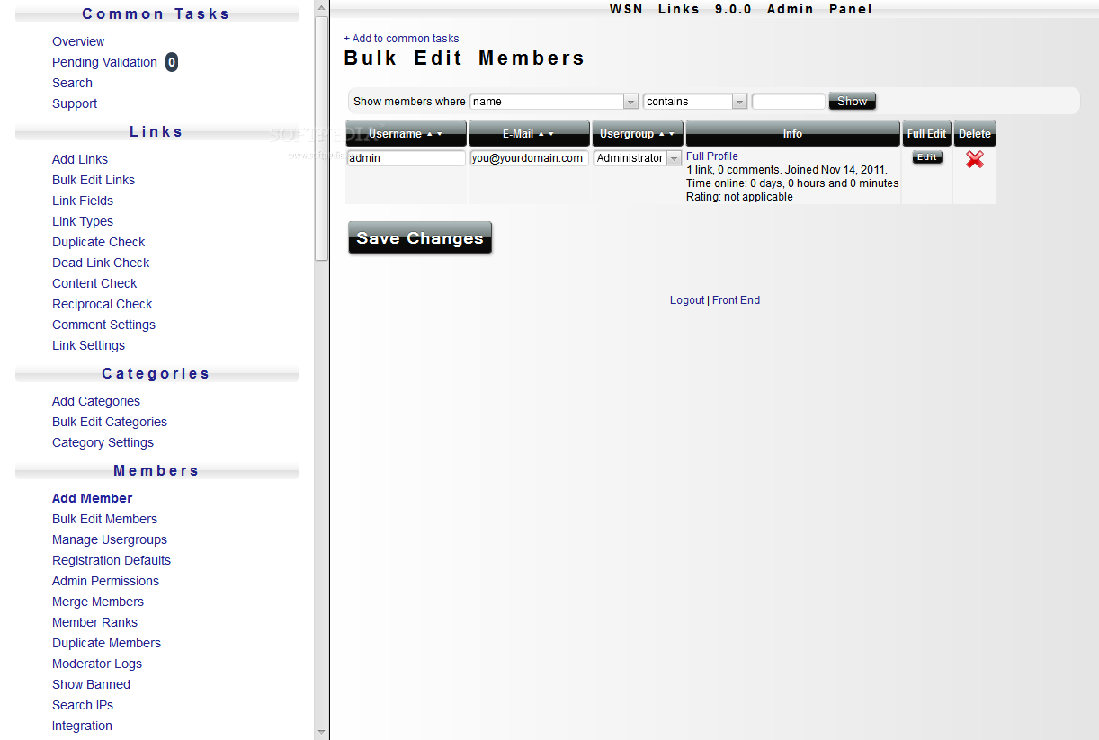 WSN Links - User profiles, along with user groups, roles, and permissions can also be edited