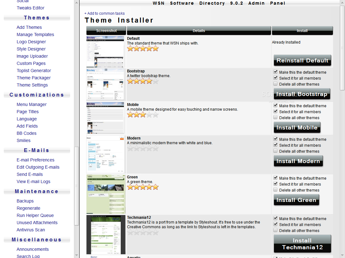 WSN Software Directory - WSN Software Directory supports themes and customizable frontend templates